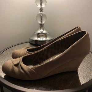 "Faux Suede Wedge Heels 3"" Size 11"